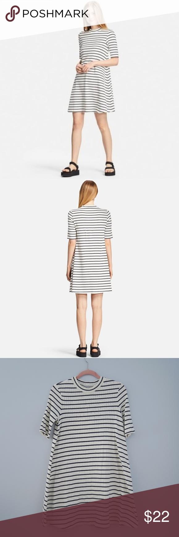 Uniqlo ribbed cotton flare striped dress nwot uniqlo nautical