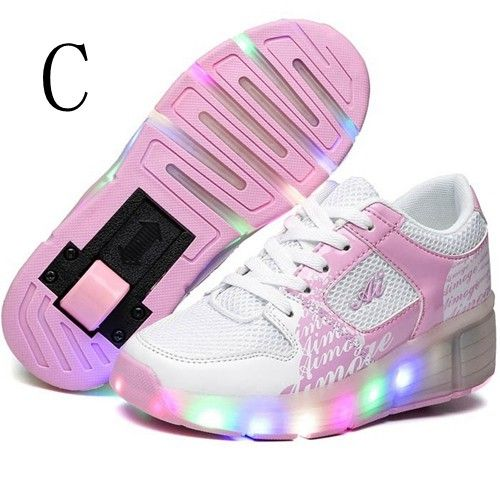 80c075b57 Zapatillas Con Ruedas y Luces Rosas Niña