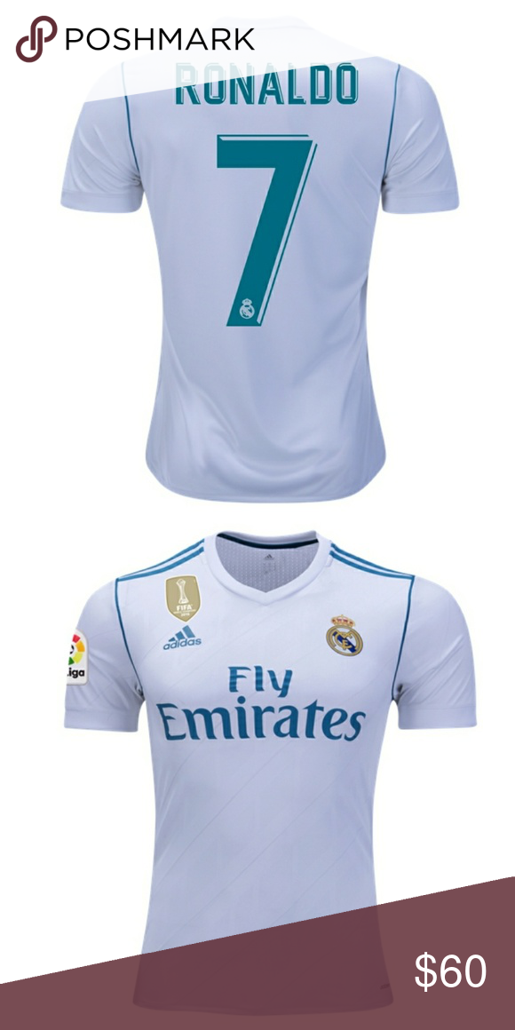 eff725c27 Ronaldo# 7 real Madrid white jersey 17-18 This a Cristiano Ronaldo #7 home  jersey 2017-2018 Prices are firm, you only get discount by adding 2 jerdeys  to ...