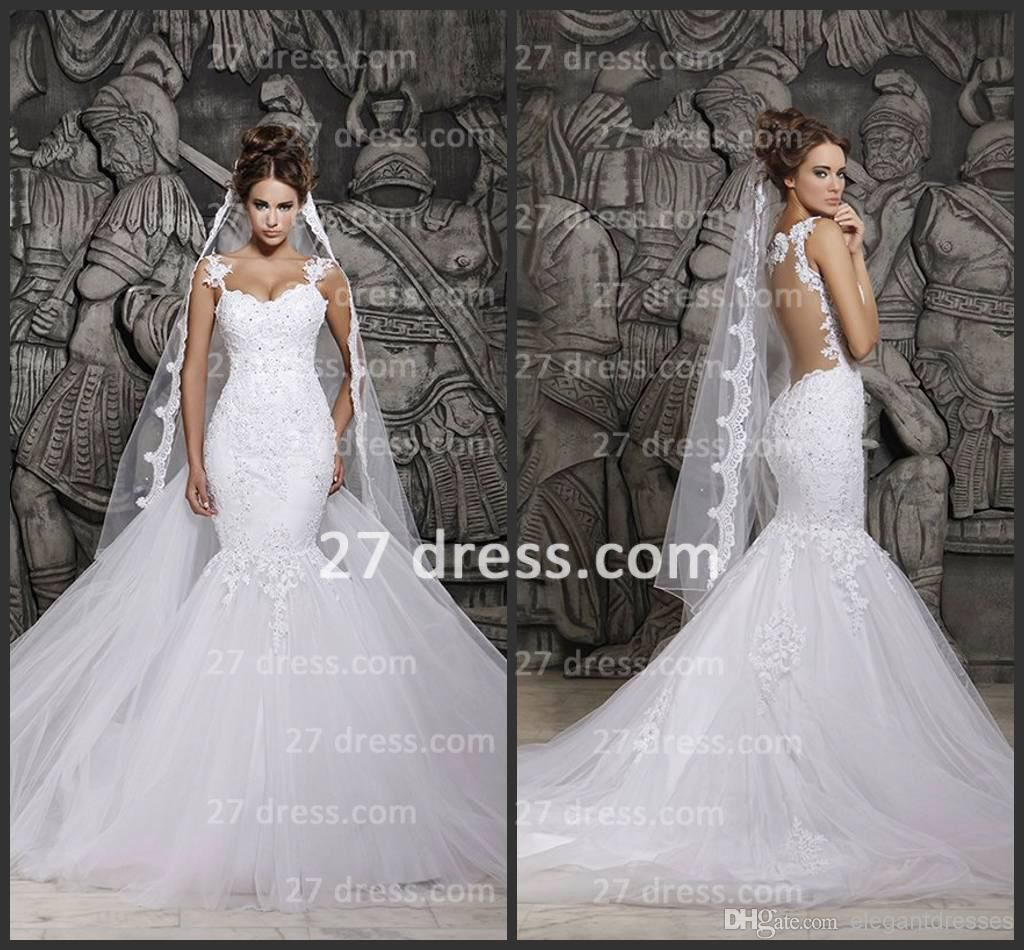 Sexy backless mermaid lace wedding dresses applique spaghetti straps