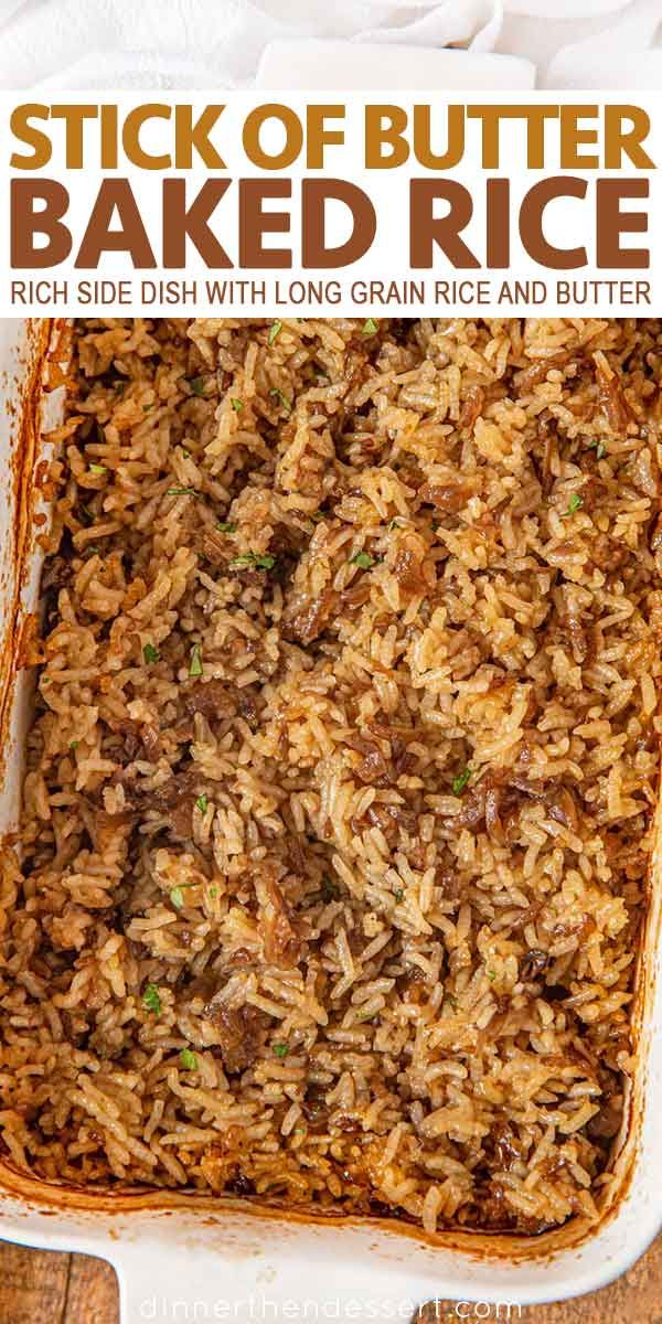 Stick of Butter Rice is a buttery, casserole-like side dish, with beef broth, French Onion Soup, white rice and butter that bakes into a creamy, rich holiday favorite recipe! | #rice #side #sidedish #holidays #dinnerthendessert #favoriterecipes