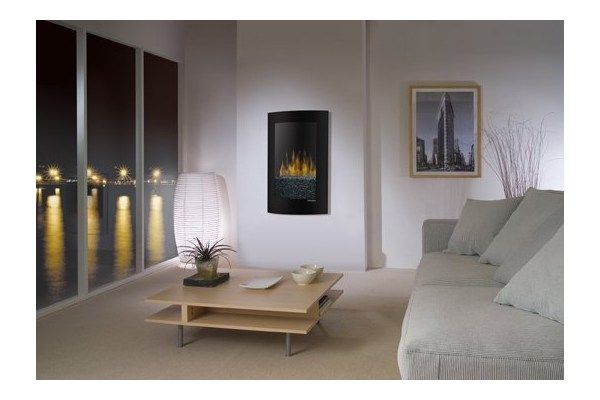Dimplex Recessed Electraflame Convex Recessed Wall Mount Electric Fireplace Available In Black And White Th Wall Mount Electric Fireplace Fireplace Home