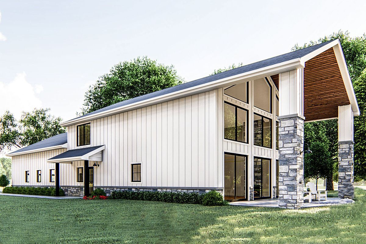 Plan 62814DJ: Post Frame Barndominium House Plan with Space to Work and Live