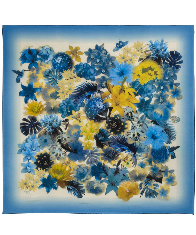 Blue Exotic Flowers Print Silk Scarf Liberty London Silk Scarves