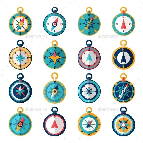 Navigational Compass Sailing Orientation Instrument Icon Flat Set