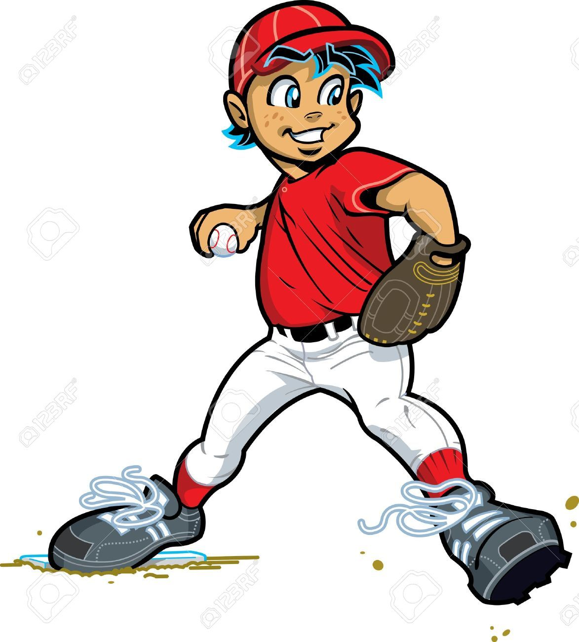 20686893 Young Boy Pitcher For Baseball And Softball Stock Vector Baseball Cartoon Player Jpg 1173 1300 Baseball Pitcher Baseball Softball Baseball