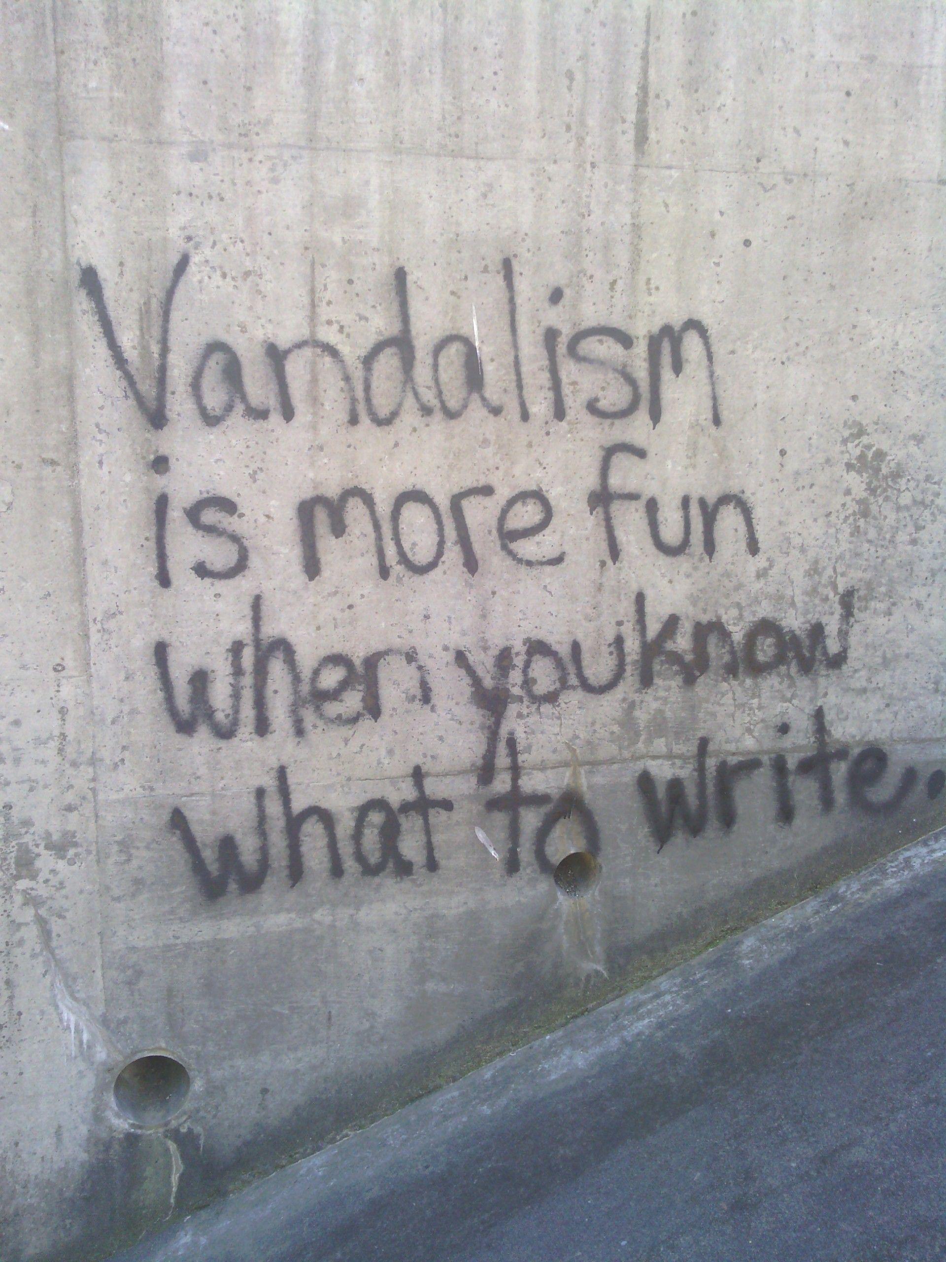 Grafitti art quote -  Vandalism Is More Fun When You Know What To Write Graffiti Streetart