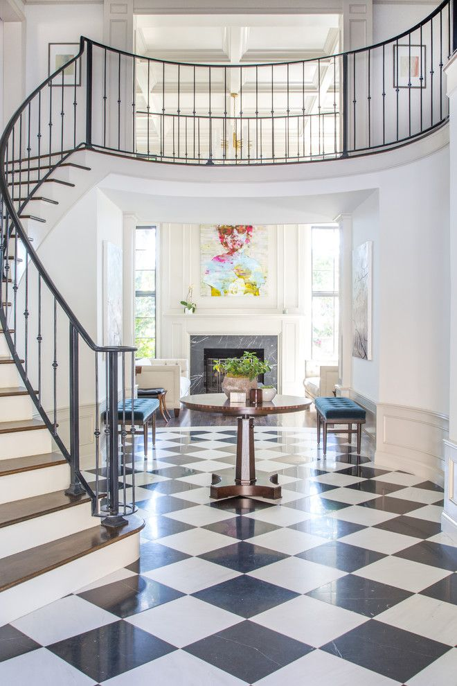 Best Two Story Foyer With Black And White Tiles Curved Stairway Fireplace Iron Railing Dana 640 x 480
