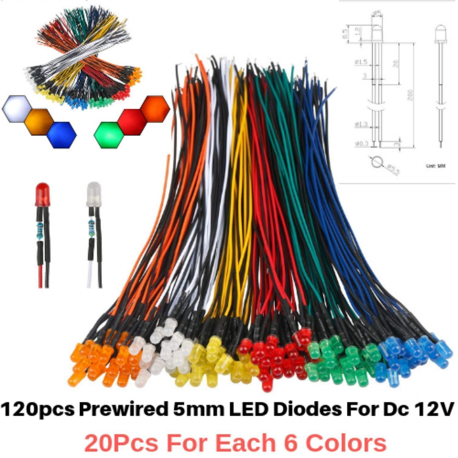 7colors 700pcs 0603 SMD LED Diode White Red Yellow Green Blue Orange Mix Kits
