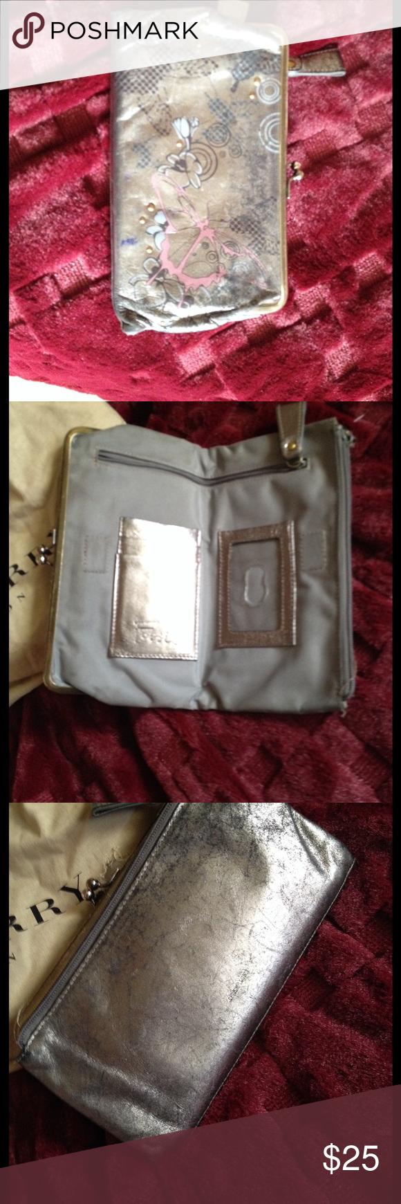 silver metallic fossil wallet great condition Fossil Bags Wallets