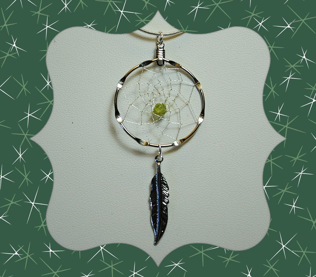 Silver Dream Catcher Necklace with a Peridot Chip and Feather, Peridot necklace, Native American Style, August Birthstone, tribal, by OriginalsByCathy on Etsy