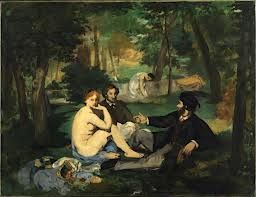 """This woman is a very different in comparison to the """"hard look"""" painting of a woman he did did. This woman have more of an angelic vision. Painting by Manet."""