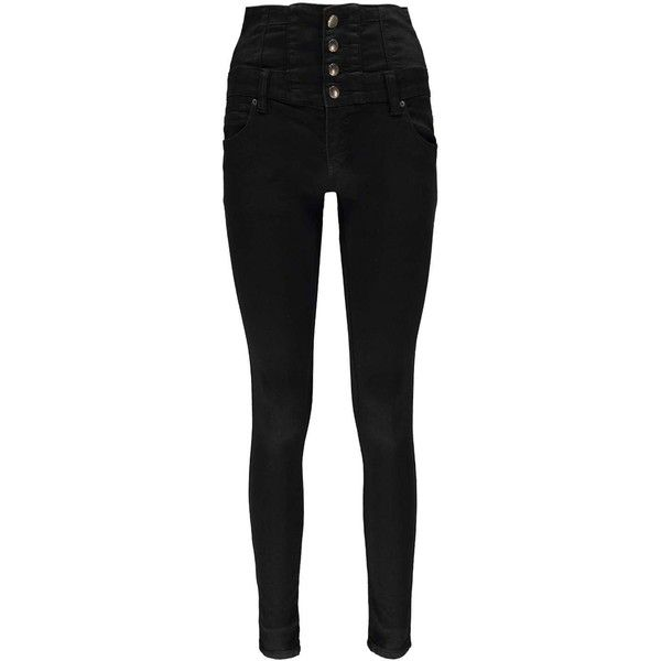 Boohoo Sandy Super High Wasited Super Skinny Jeans ($35) ❤ liked on Polyvore featuring jeans, punk skinny jeans, skinny jeans, torn skinny jeans, distressed boyfriend jeans and slim skinny jeans