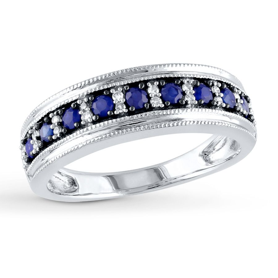 Sapphire Ring 1 15 Ct Tw Diamonds 10k White Gold With Images White Gold Rings Blue Sapphire Rings Sapphire Wedding Rings