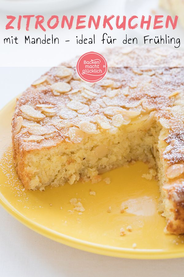Saftiger Zitronen-Mandel-Kuchen ohne Mehl | Backen macht glücklich  – Kuchen Rezepte