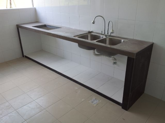 Kitchen Concrete Table Top With Tiles And Embedded Double Sink Superior Embeded