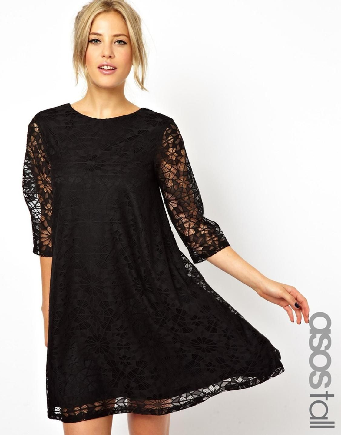 Black dress asos - Madeleine Thompson Asos Swing Dress In Nepi With Long Sleeves In