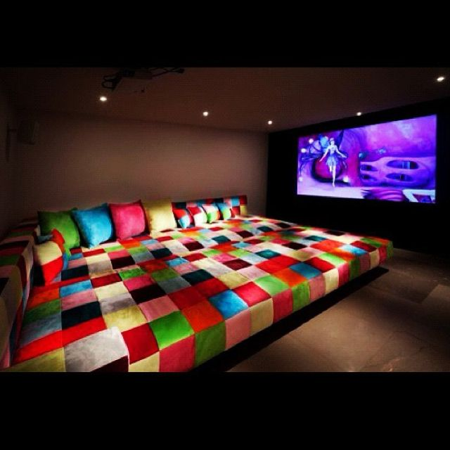 Carol Brechzin Home Tips For Home Theater Room Design Ideas: Modern Movie Room With A Lot Of Fun Colors