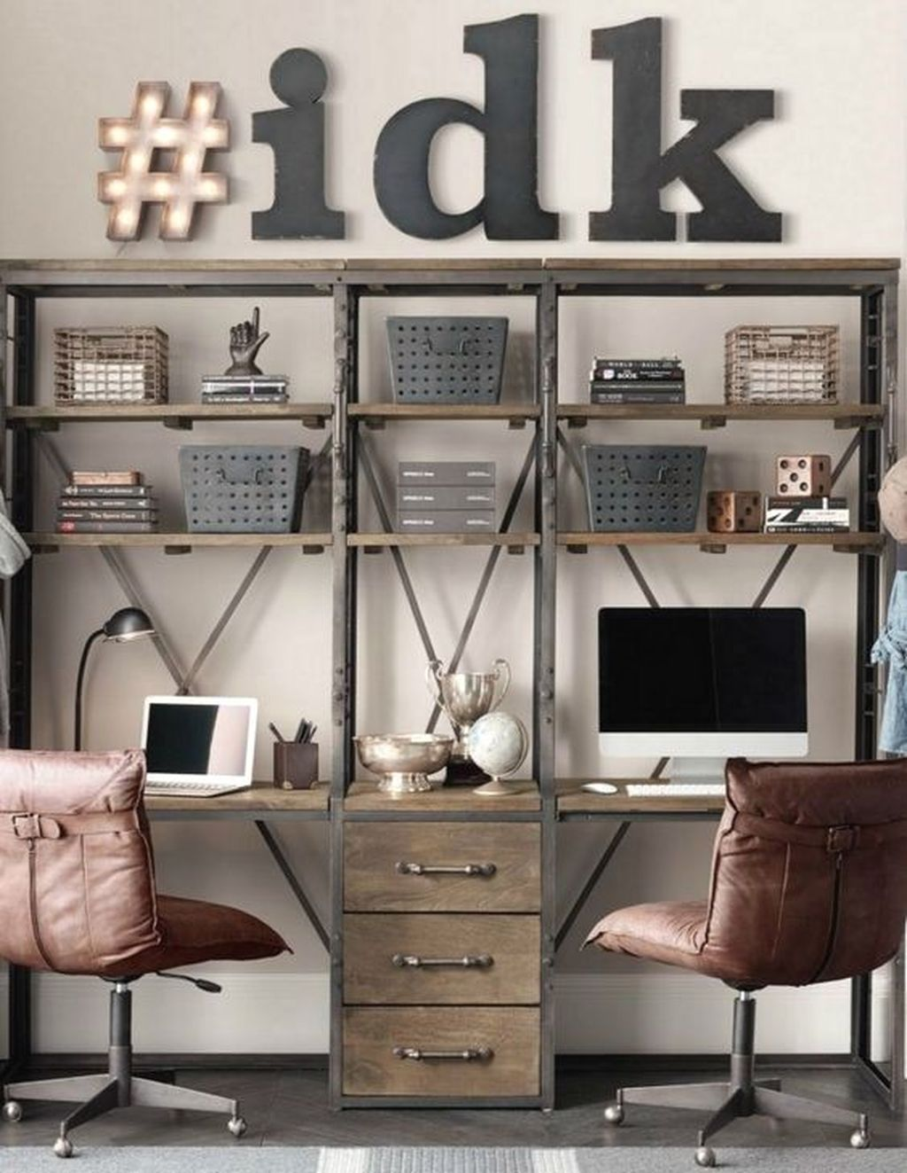 Industrial Study Room: 45 Awesome Study Room Ideas For Teens