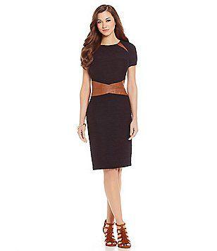 Antonio Melani Cynthia Ottoman & Faux-Leather Sheath Dress Available at Dillard's Citadel Mall, Charleston, SC