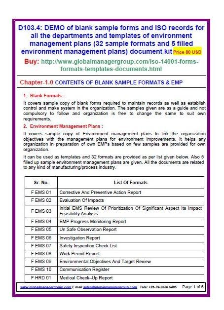iso 14001 sample forms of environment management plans  28