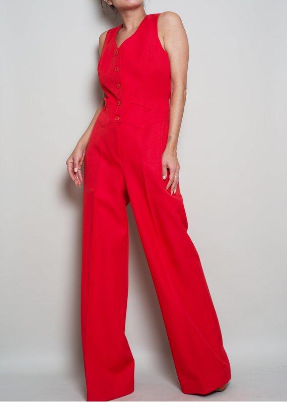 1eb3962cea0 1970s   Disco Era   Cherry Red Tailored Wide Leg Jumpsuit   Blazer Suit Set    Med