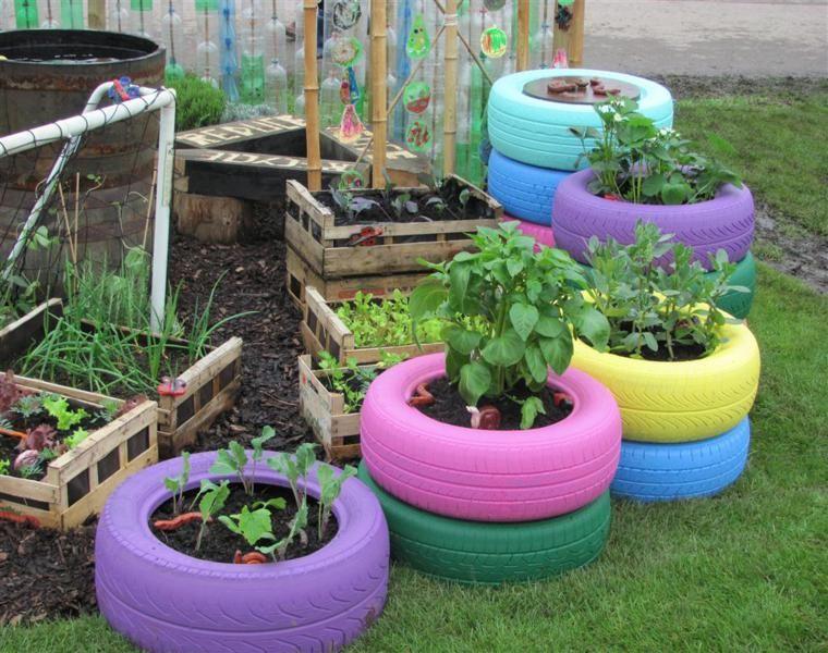Neumaticos Viejos Para Decorar Tu Jardin 24 Ideas Estupendas Llantas Decoradas Para Jardin Jardines Con Llantas Jardines