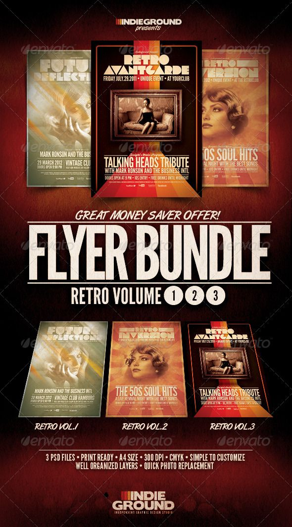 Retro FlyerPoster Bundle Vol   Icons Promotion And Soul Funk