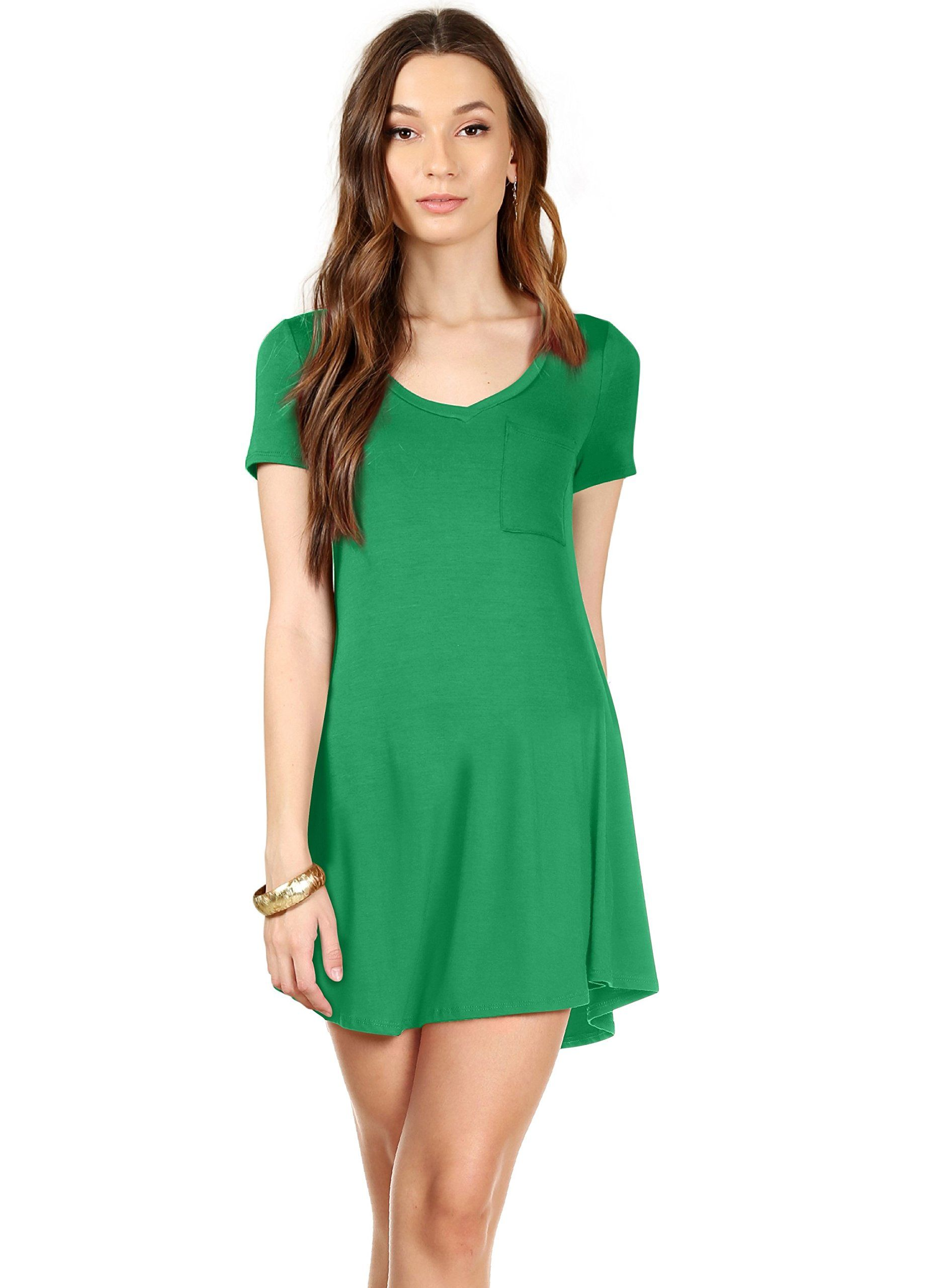 85a44778aee Kelly Green V Neck Tunic T Shirt Dress For Women Regular and Plus Size  Casual Summer Dress Kelly Green Small ** More info could be found at the  image url.
