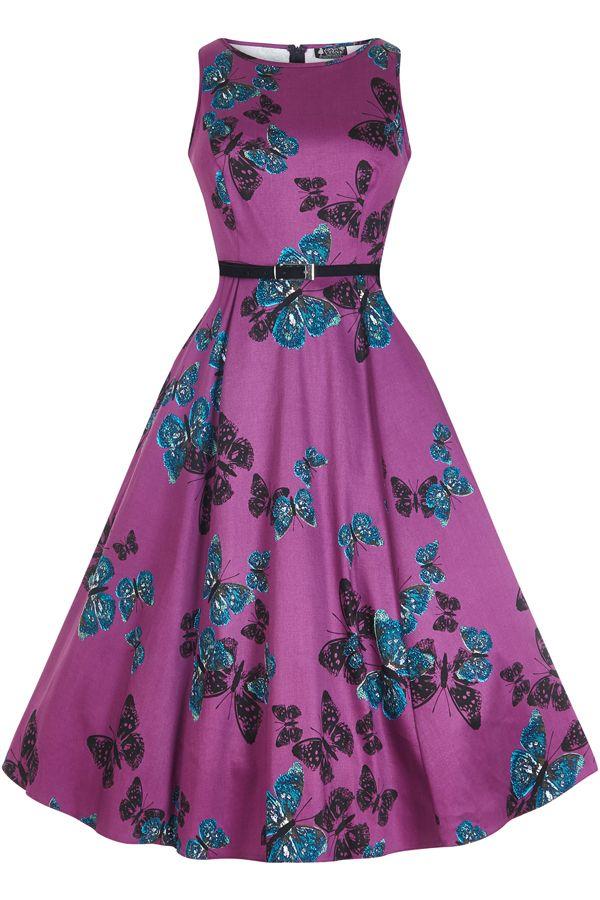 Hepburn Dress - Purple Butterfly | Vestiditos, Chicas lindas y ...
