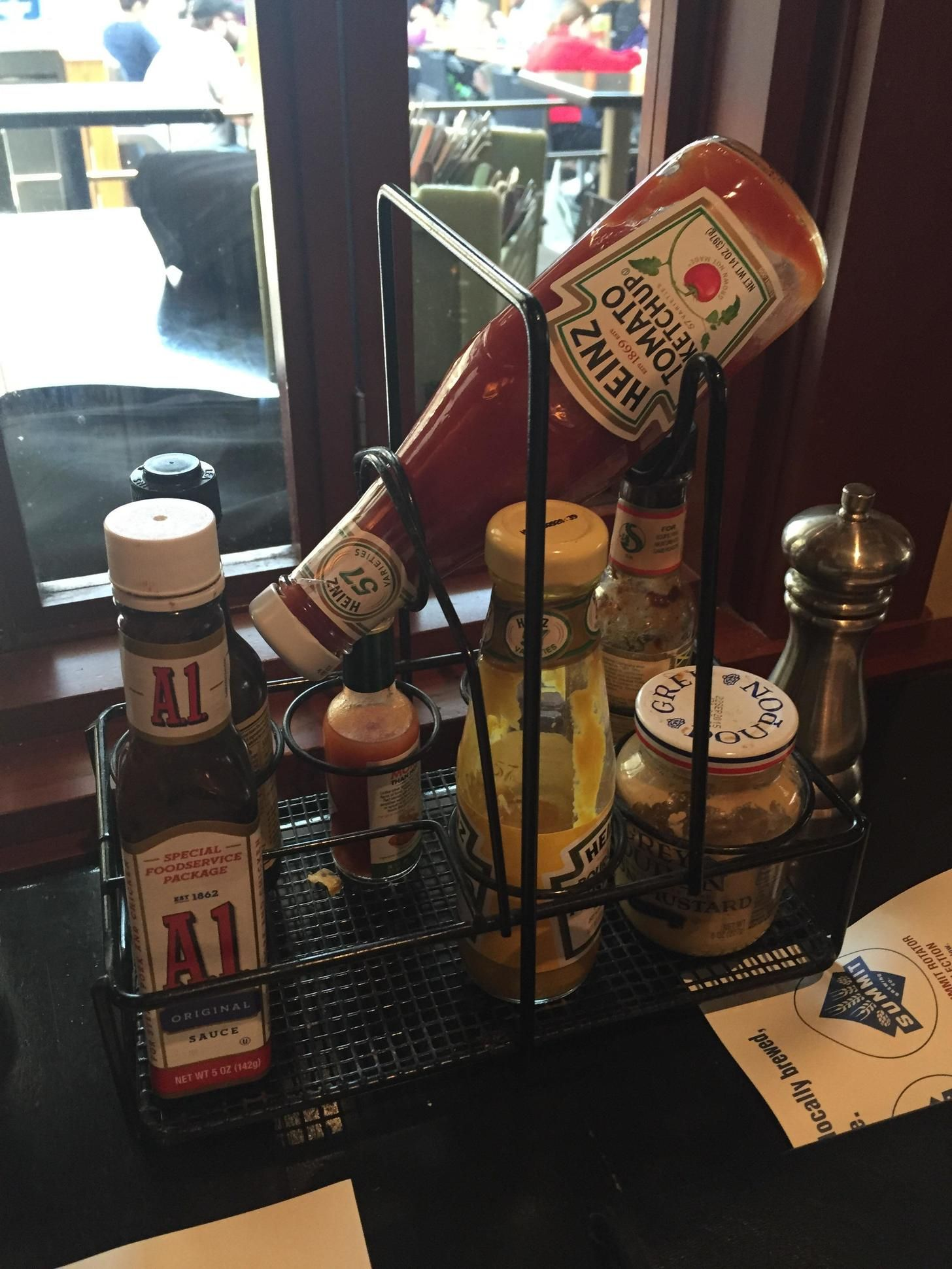This Restaurant Tabletop Condiment Caddy Has A Special Holder To - Table top caddies for restaurants