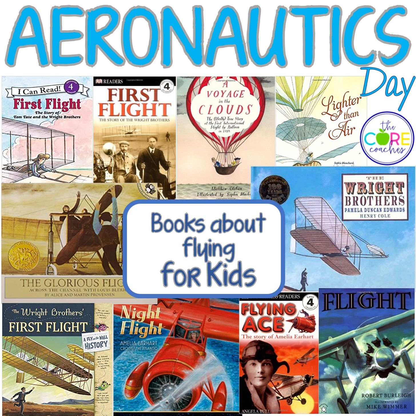 Books about flying for aeronautics day. Kids learn all about flight with these fun titles. Aeronautics day is 1 of 10 days of lesson plans to help students count down to the end of the school year.