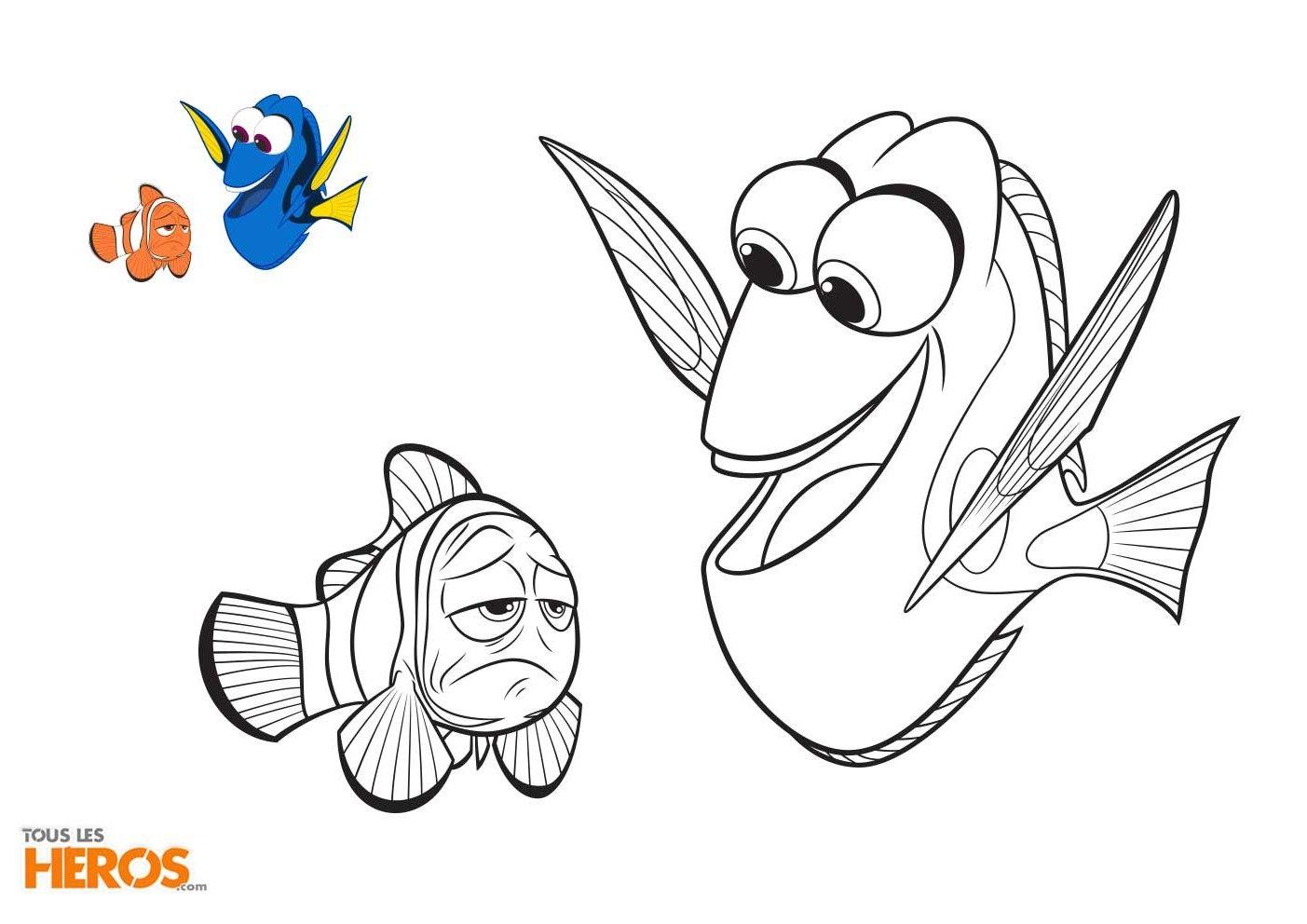 Rejoignez les poissons nemo et dory et tous leurs amis - Nemo coloriage ...