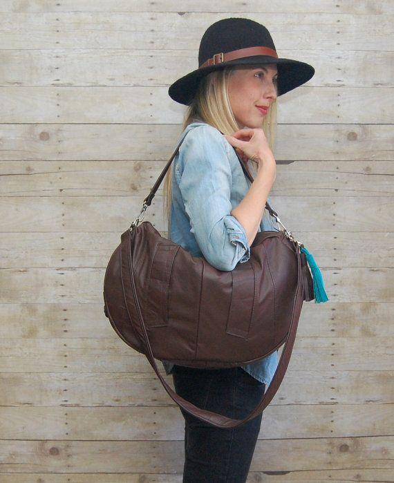 SALE brown leather Furrow bag / large slouchy bag / by hoakonhelga, $95.00