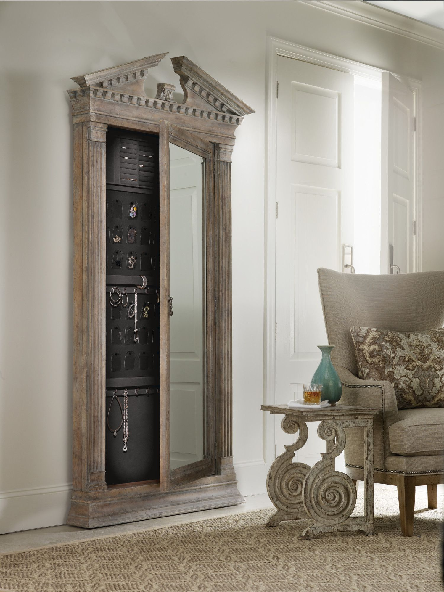 Rhapsody Floor Jewelry Armoire with Mirror Wayfair Jewelry