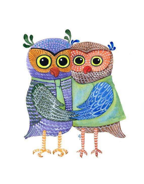 Original Watercolor Wedding Owl, 11x14 Paper, Gift Surprise, white red blue, Elena Schnaider Artworks