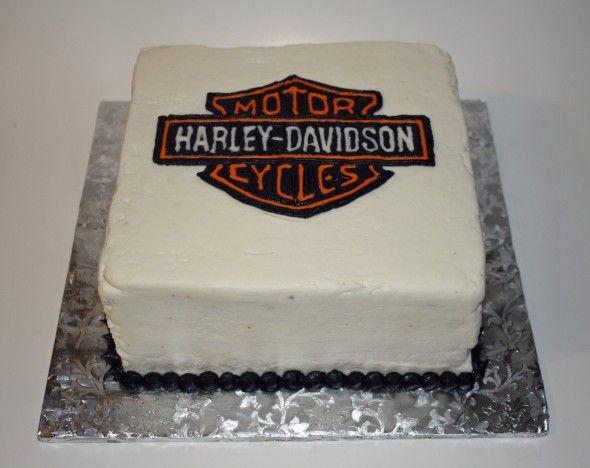 Harley Davidson Cake. Logo made with frozen buttercream transfer method.