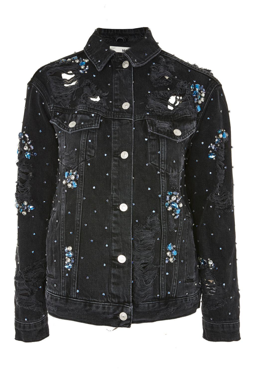 MOTO Diamante Embellished Oversized Denim Jacket Denim