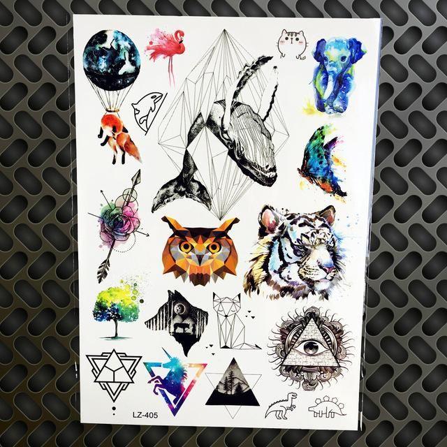 Henna Tattoo Für Jungs: Black Diamond Geometry Owl Temporary Tattoo Sticker WOmen