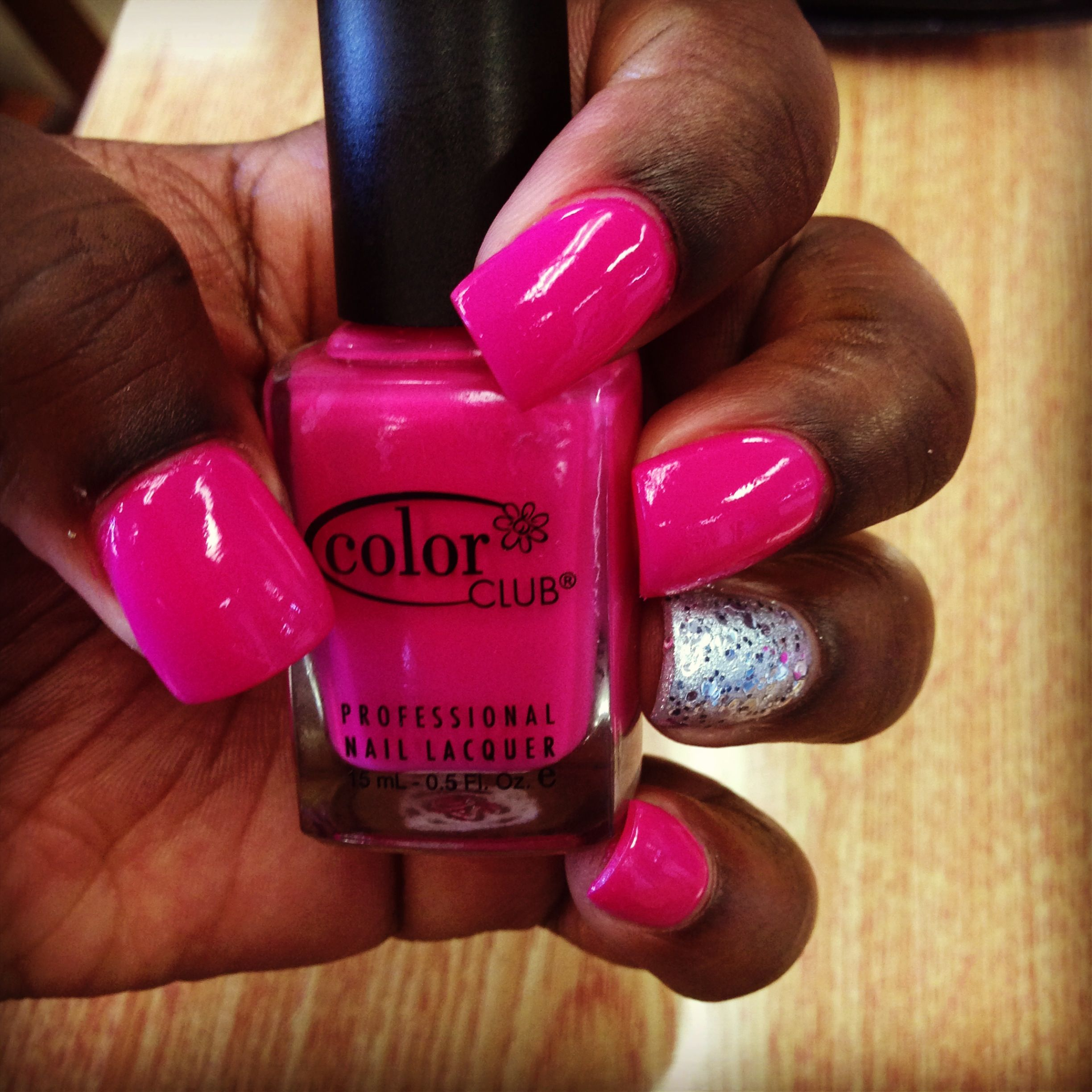 Pink & Silver Nails African American Hands