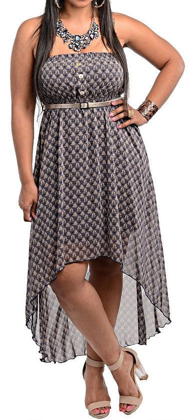 Hi Low Chiffon Casual Sundress Wabbreviated Lining Plus Size
