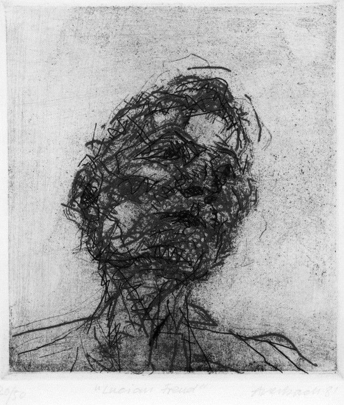 Lucian Freud by Frank Auerbach etching, 1981 6 in. x 5 1/2 in. (152 mm x 140 mm) Purchased, 1981 National Portrait Gallery