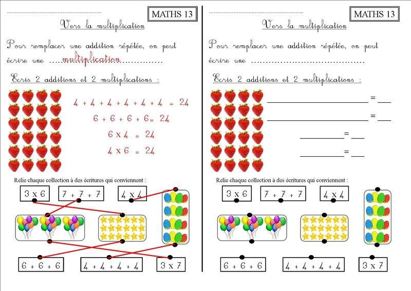 MATHS 13 CE1 : vers la multiplication - La classe des CE de Villebois (avec images ...