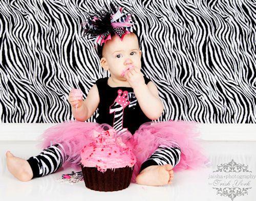 Shes 1 Birthday Baby Zebra Tank in Black White and Hot Pink