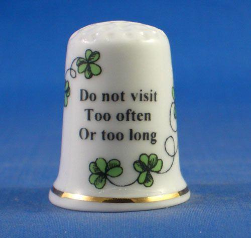 Free Dome Box Birchcroft Thimble Irish Sayings Do not Visit too Often
