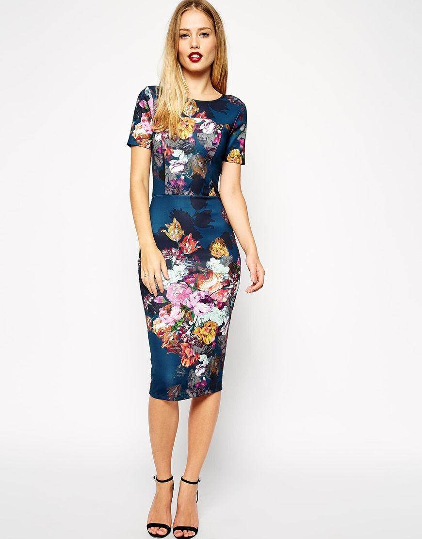 Asos Asos Floral Print Scuba Body Conscious Dress At Asos Dressy Casual Wedding Floral Print Dress Glam Dresses [ 1110 x 870 Pixel ]