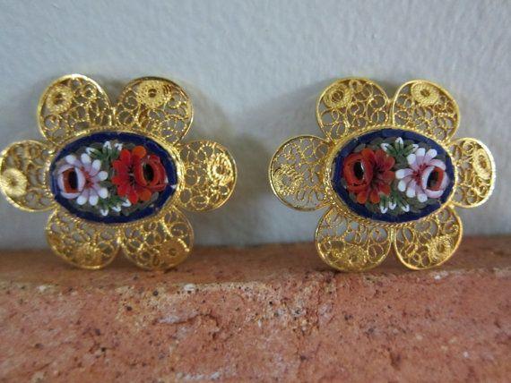 Vintage 1940s Clip On Earrings in Gold Openwork by BasyaBerkman, $38.00