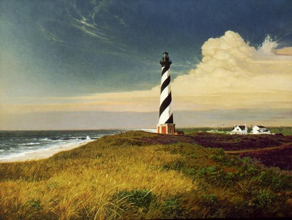 ' Hatteras Standing ' Alkyd.    The National Arts for the Parks held a contest in 1986 for the images to be shown on the first National Park Stamp. This was one of the six winners and appeared on the 1987 stamp. The painting was shown in the Great Hall of the Smithsonian and presented to George Bush in the Whitehouse. President Bush (then Vice-President), told me he used to fly over the lighthouse in his days of flight training in Norfolk. www.robertbdance.com