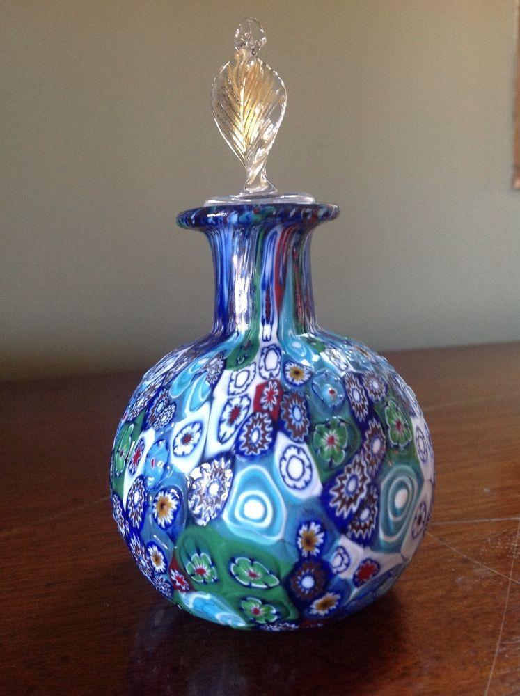 MURANO Venetian Glass Millefiori Perfume Dresser Bottle Blues Gold Leaf Stopper