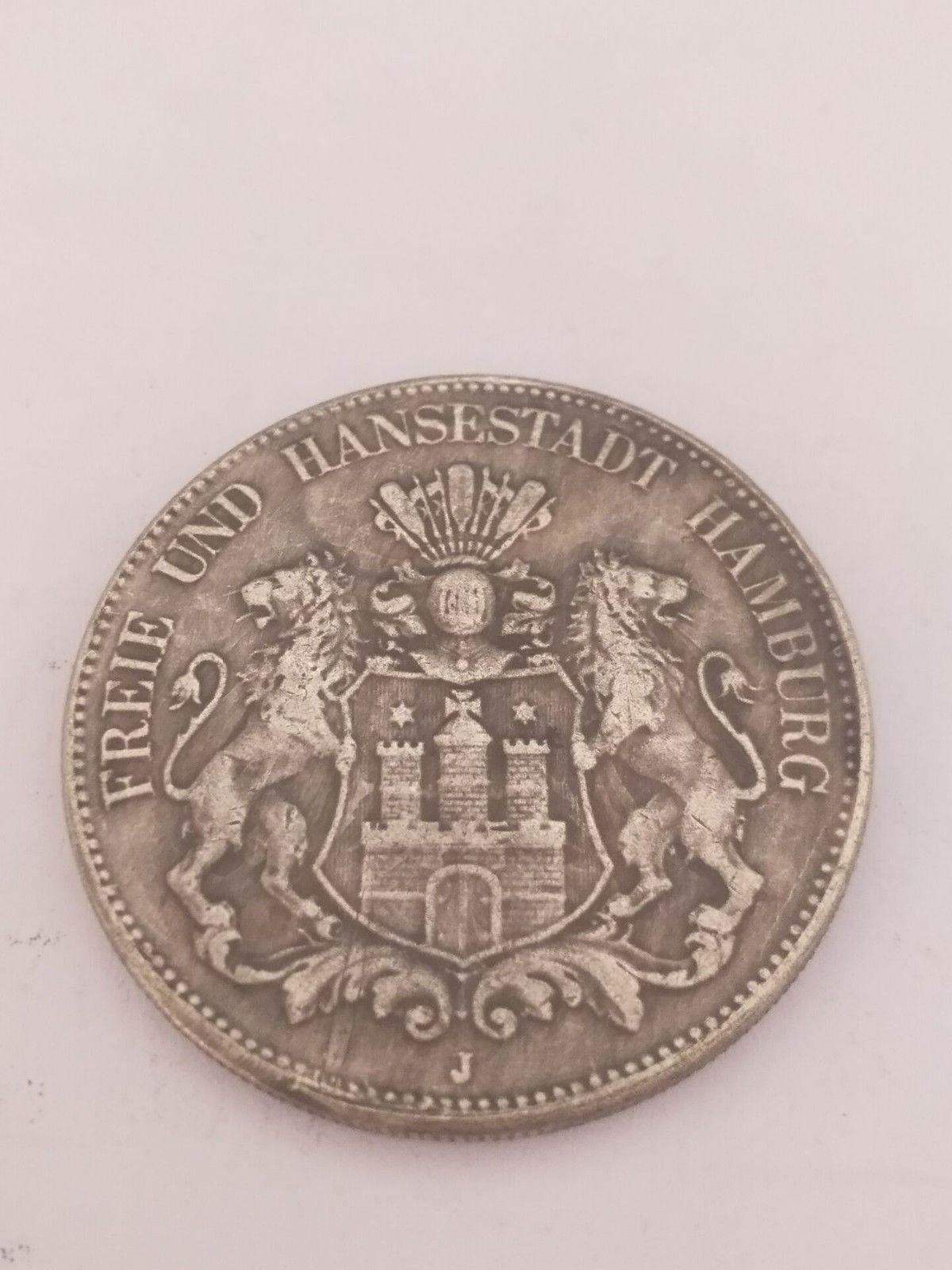 1903 Freie Und Hansestadt Hamburg Funf Mark Deutsches Reich Coin